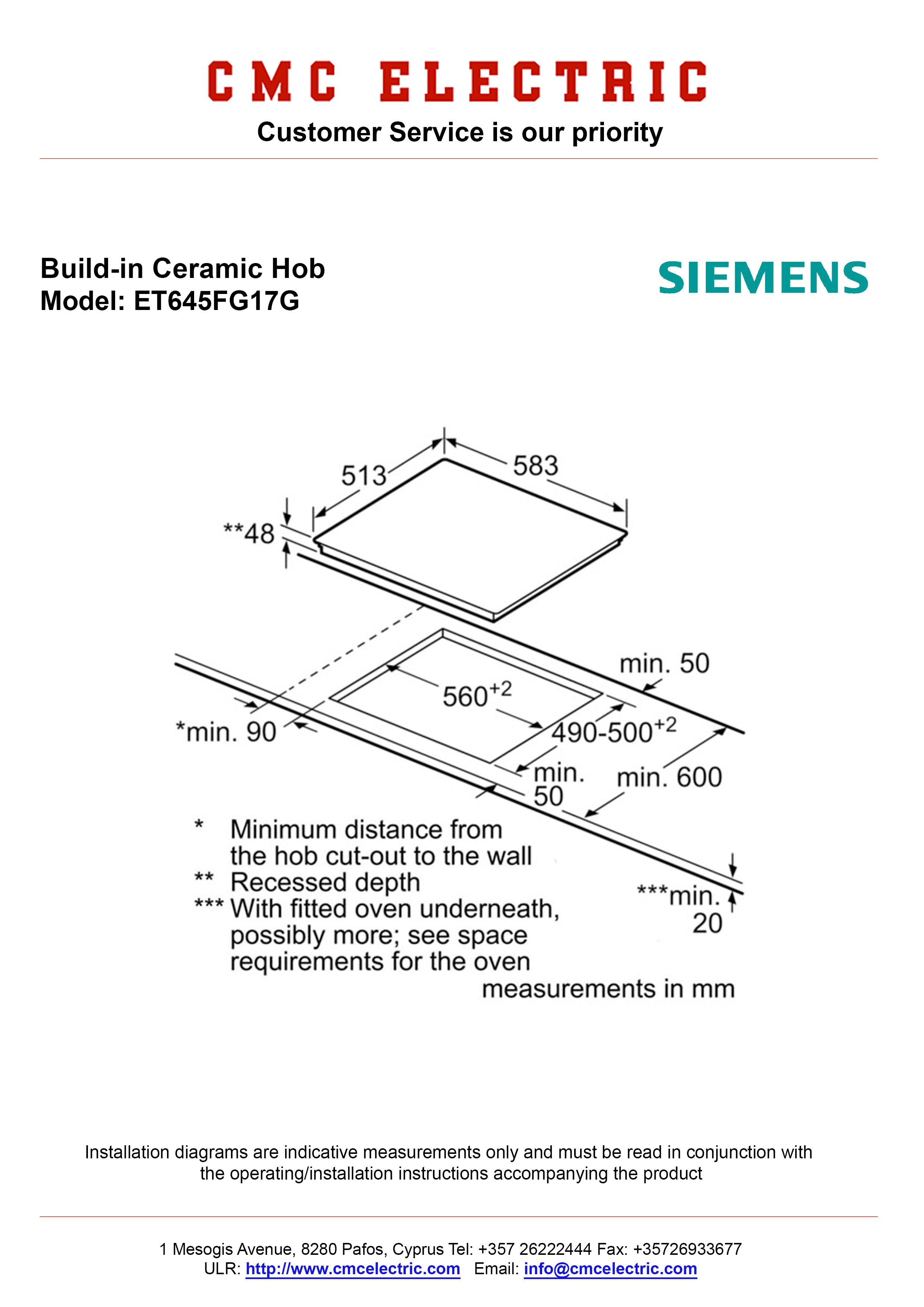 Siemens Et645fg17g Built In Ceramic Hob Cmc Electric Buy Tilt Trim Wiring Diagram Diagramme
