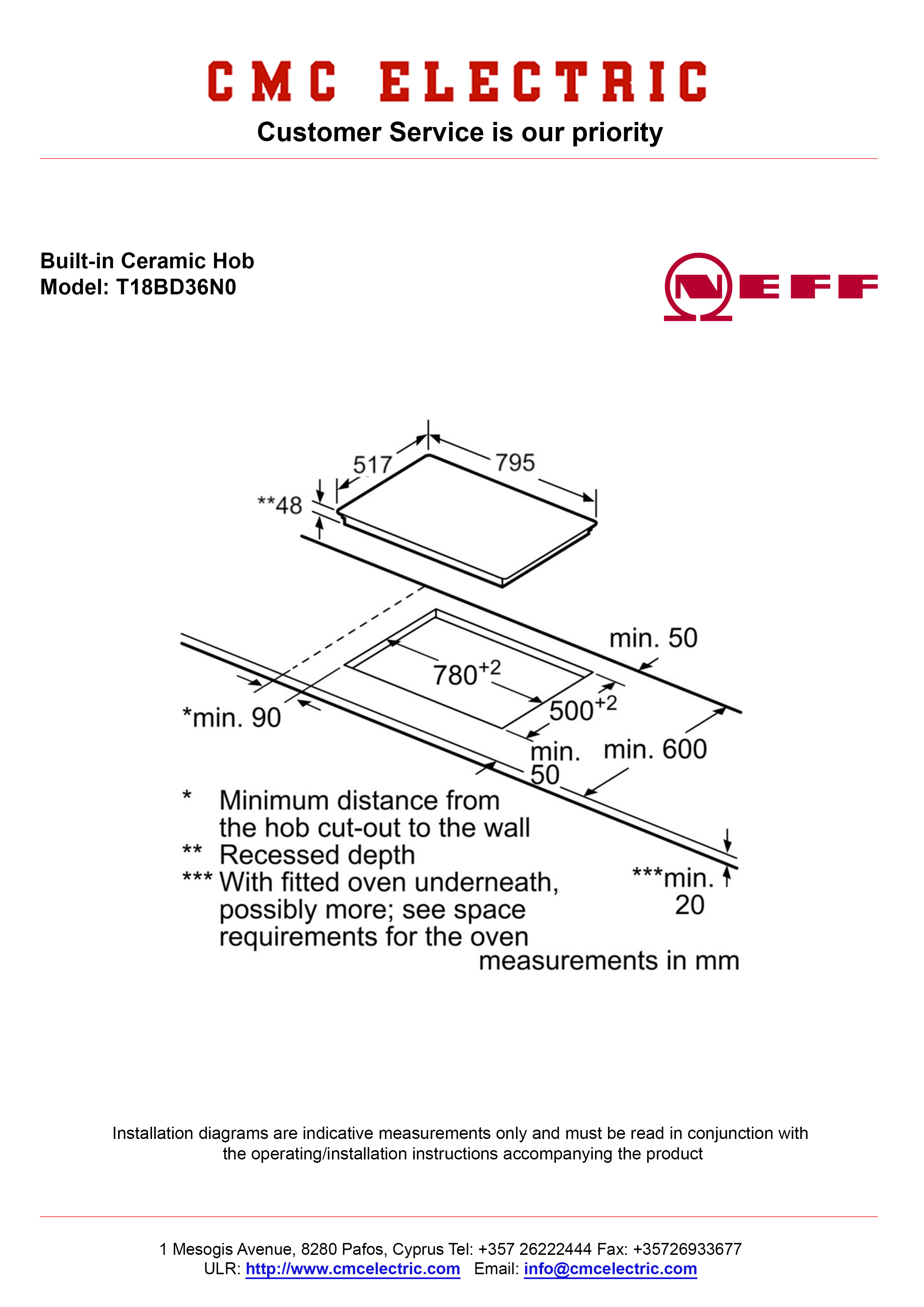 Neff T18bd36n0 Built In Ceramic Hob Cmc Electric Buy Electrical Tilt Trim Wiring Diagram Diagramme